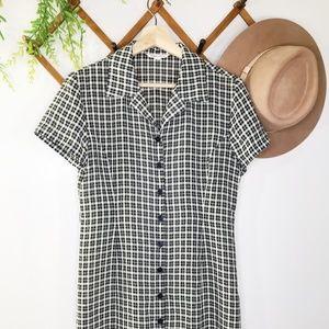 Vintage gingham button down dress